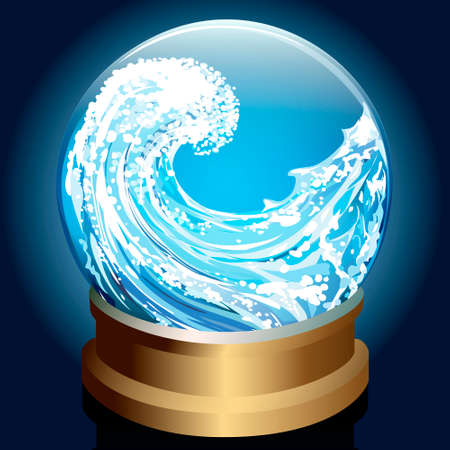 Illustration of wave inside crystal ball drawn in cartoon style  Vector