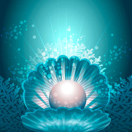 Illustration of open shell with pearl inside against sea background with corals drawn in fantasy style