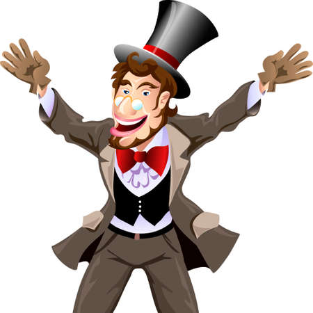 Illustration of joyful gentleman in a dress coat, a bow tie and the cylinder who meets best friend drawn in cartoon style
