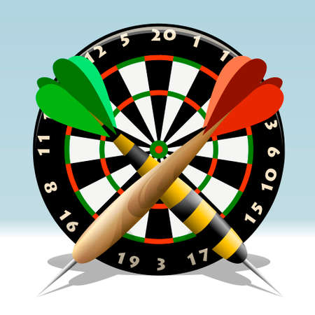 Illustration of dartboard and two darts drawn in cartoon style