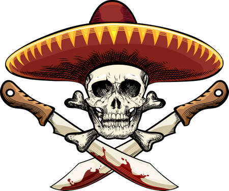 Illustration of skull in mexican sombrero against two machetes drawn in tattoo sketch style Vector