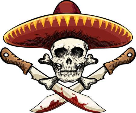mexican sombrero: Illustrazione del cranio in sombrero messicano contro due machete disegnato in stile tatuaggio schizzo
