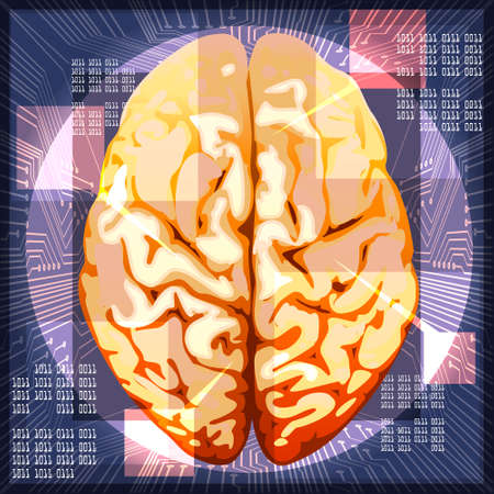 Illustration of human brain against circuit board and binary code messages drawn in techno style as metaphor of modern achievements in cybernetics