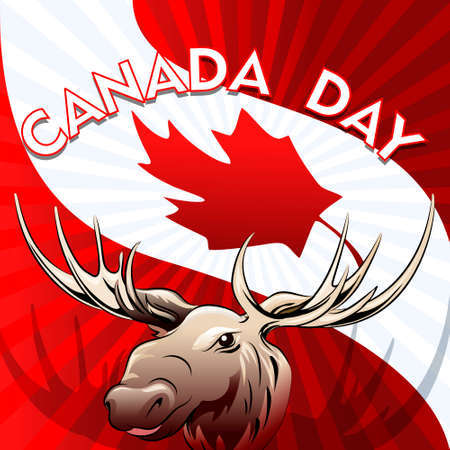 Illustration of moose against national  flag of Canada drawn in poster style