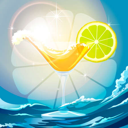Illustration of drink wave and lime slice in a cocktail glass against wavy background Vector