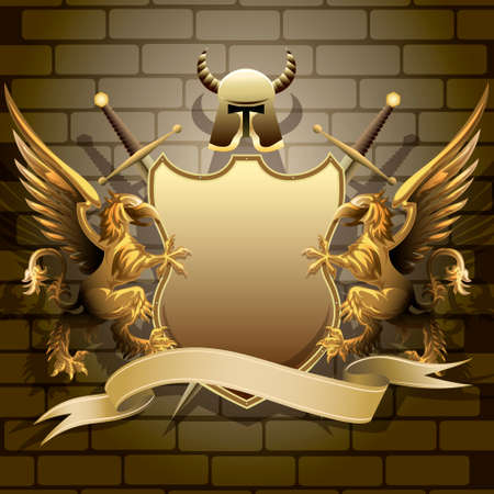 The golden shield with two swords, helmet and banner holds by gryphons against castle wall background drawn in classic style Vector
