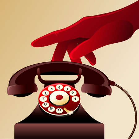 Illustration of woman palm in a red glove above the old telephone drawn in vintage style