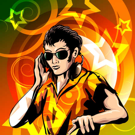 disc jockey: Illustration of disc jockey with headphones against colorful background drawn in poster style