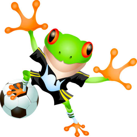 Funny illustration of frog in football uniform with ball drawn in cartoon style Vector