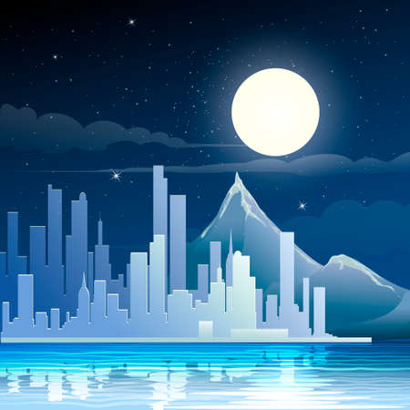 Illustration of modern city on a river against mountains and moon  in star midnight sky Vector