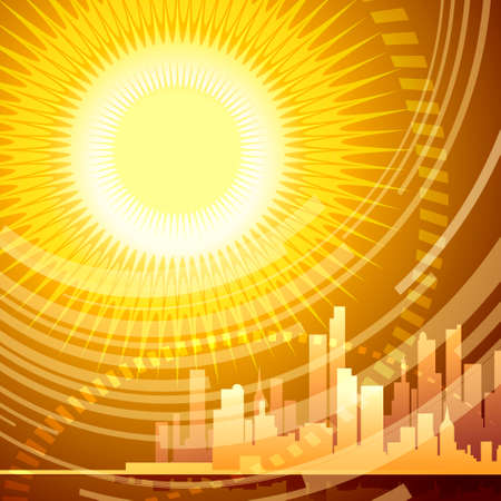 Abstract Illustration of modern city against beams of the huge sun drawn with using gradients in poster style