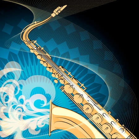 Illustration of saxophone against swirls background drawn with using selfmade pattern