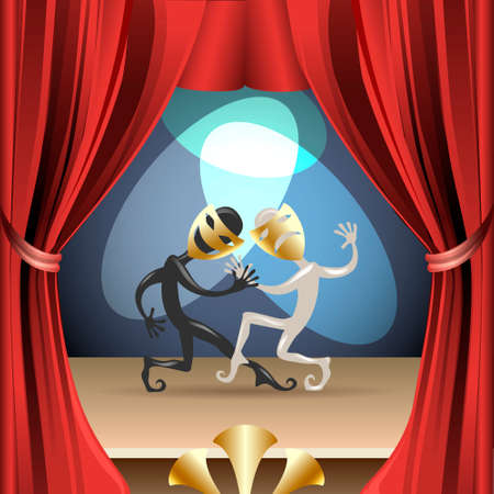 stage costume: Illustration of two actors in classic masks on theatre stage during performance drawn in cartoon style