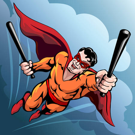 character traits: Funny illustration of smiling superhero who flies in the sky with two baseball bats drawn in comics style