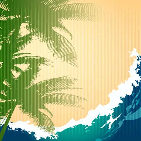 vague ocean: Illustration de palmiers contre vagues de l'oc�an dessin� dans le style r�tro avec l'aide de texture de carton Illustration