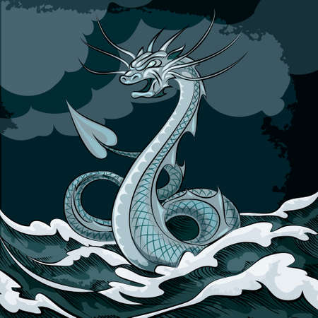 Illustration of sea dragon floating in the sea drawn in cartoon style Vector