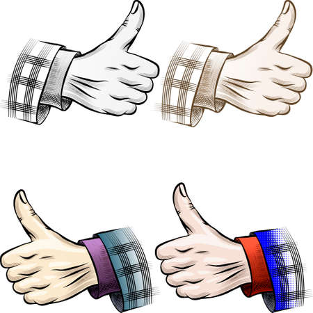Set of vintage thumb up gesture drawn in different color variations