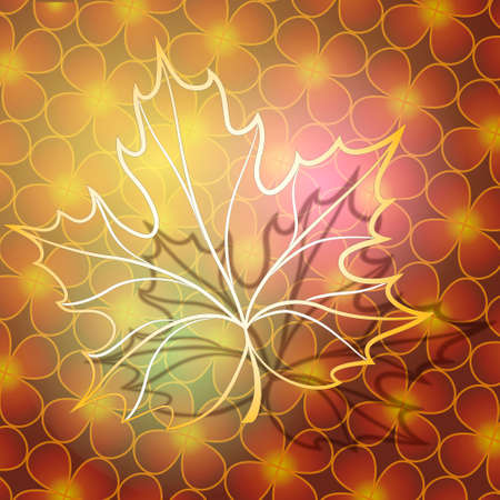 Abstract illustration of maple leaf made of gold against floral background  as metaphore of autumn Vector