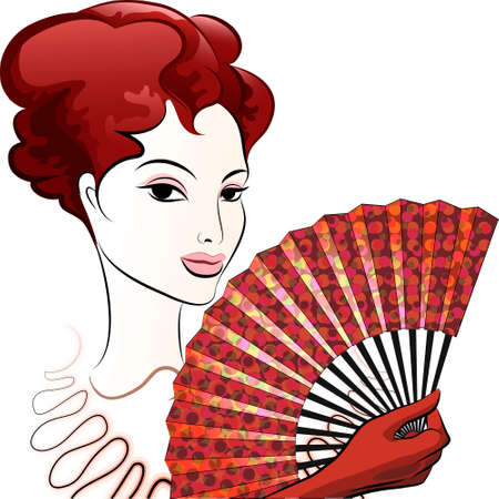 open fan: Illustration of beautiful woman in red gloves with a open fan Illustration