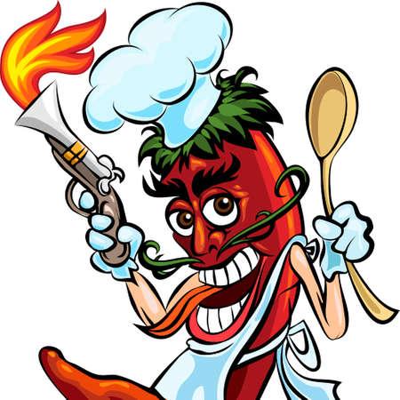 Humoristische afbeelding van rode hot chili peper in kok uniform met een lepel en pistool brand