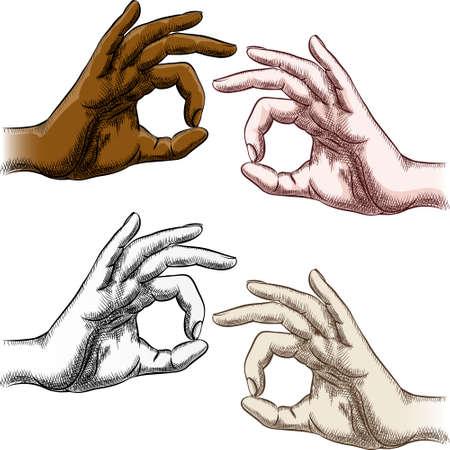Set of okay fingers drawn in vintage style Vector