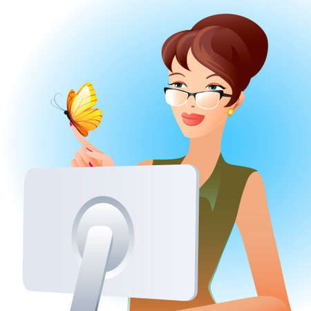 Illustration of secretary woman looking at butterfly on her finger Vector