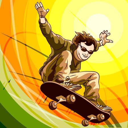 skatepark: Funny illustration of jumping skateboarder against colorful background Illustration