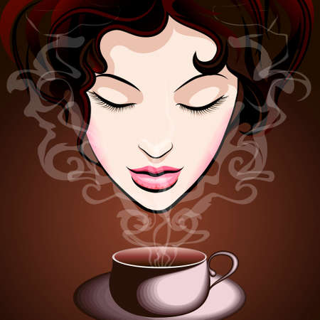 Beautiful young woman enjoying a cup of coffee Vector
