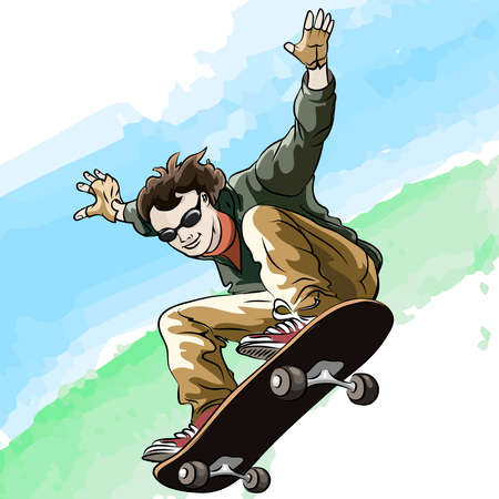 skatepark: Funny illustration of jumping skateboarder against colorful summer background