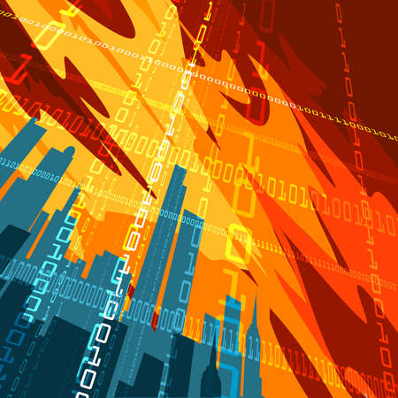 Abstract illustration of city skyscrapers and binary code lines against red skies drawn in placard style Vector