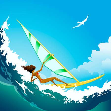 vague ocean: Illustration de jeune fille de surfer vent monter sur la vague de l'oc�an