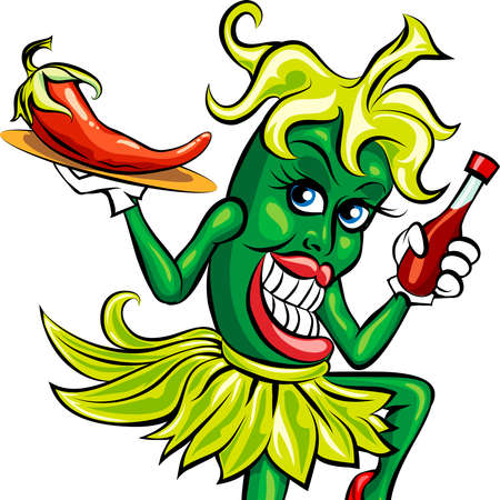 Humoristische illustratie van groene peper in serveerster uniform met een fles hete saus en voorbereid chili op een dienblad