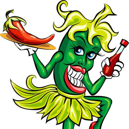 Ilustración humorística de la pimienta verde en el uniforme de camarera con una botella de salsa picante y chili preparado en una bandeja Foto de archivo - 30151477