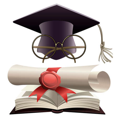 Illustration of bachelor hat with glasses and diploma on a huge book of knowledge as metaphor of  education Vector