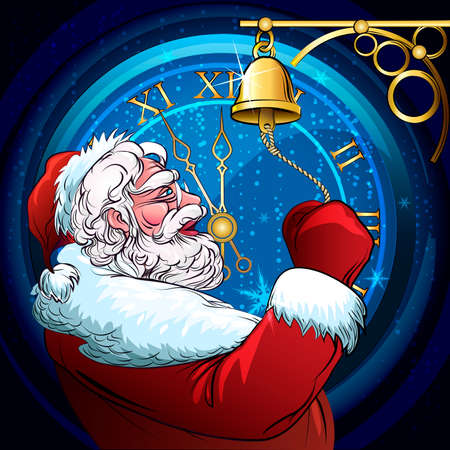 against the clock: Illustration of Santa Claus who rings a door hand bell against clock five minutes before Christmas Illustration