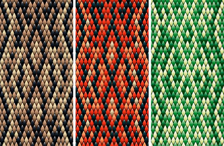 Set of seamless snakeskin pattern in three color variations drawn with linear gradients