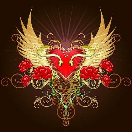Capa de brazos con una forma de escudo del corazón, dos serpientes y rosas en contra de las alas de oro dibujado en estilo del bosquejo del tatuaje