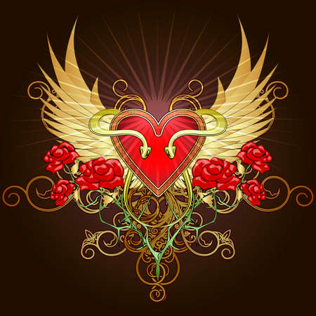 Coat of arms with a heart shape shield , two snakes and roses against golden wings drawn in tattoo sketch style Vector