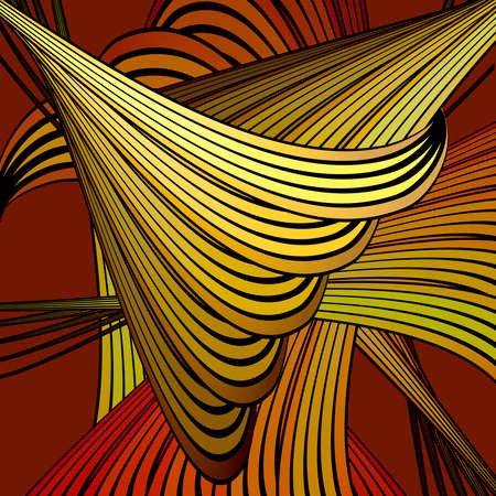 chaotical: Vector abstract background with colorful twisted curves against red background Illustration