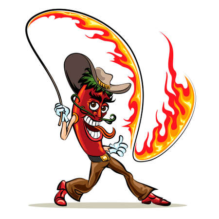Humorous illustration of red hot chili pepper in cowboy clothes with a  lash of fire