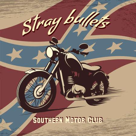 Vector illustratie van vintage motorfiets tegen confederatie vlag getekend in retro poster stijl