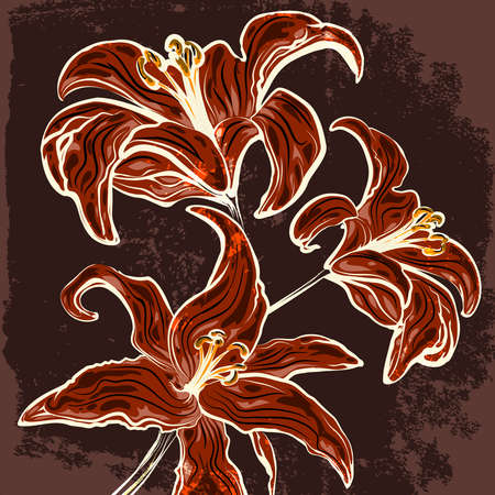 lillies: Illustration of blossoming lillies branch against grunge dark background drawn in vintage graphic style Illustration