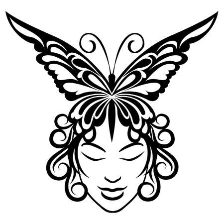 one person only: Illustration of young woman face and butterfly hairdress drawn in tattoo style.