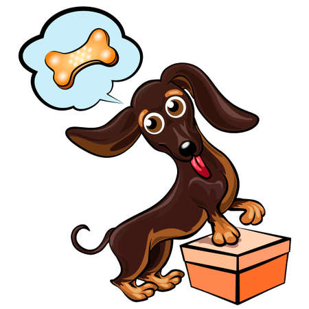 Funny illustration with dachshund dreaming about toy bone drawn in cartoon style