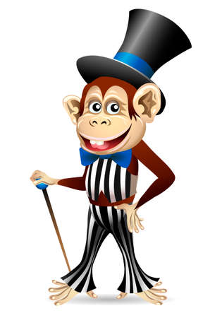 Funny illustration of cheerful monkey in dandy clothes with a cane drawn in cartoon style