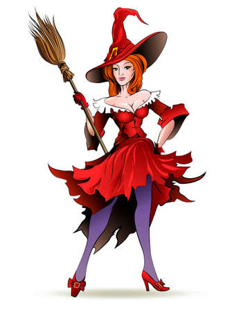 Illustration of pretty witch in magic hat posing with a broom isolated on white