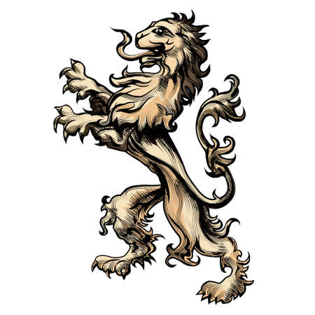 Illustration of heraldry lion drawn in engraving style isolated on white
