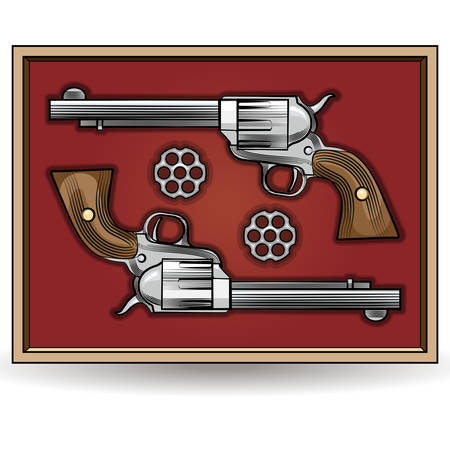 Illustrations of two revolvers in a box drawn in cartoon style