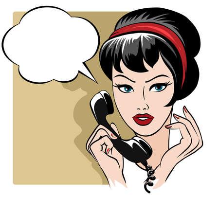 Illustratie van een mooi meisje spreken via de telefoon en lege tekstballon getekend in retro stijl