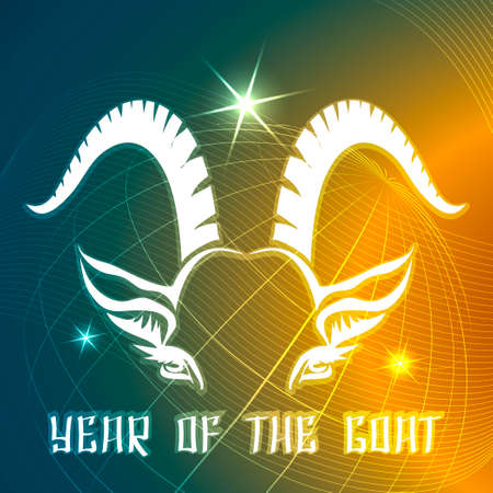 next year: Illustration of astrological symbol of next year goat against globe in the space Illustration